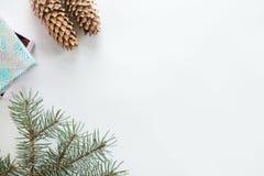 Плоский взгляд украшения рождества, copyspace Стоковые Изображения RF