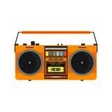 Плоский винтажный оранжевый магнитофон Стоковое Изображение RF