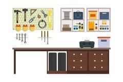 Плоский гараж внутрь иллюстрация вектора