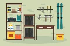 Плоский гараж внутрь бесплатная иллюстрация