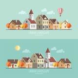 Плоский городской пейзаж осени дизайна Бесплатная Иллюстрация