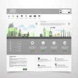 Плоский город eco на плоском дизайне шаблона вебсайта Стоковые Изображения
