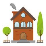 Плоский жилой вектор жилищного строительства кирпича иллюстрация штока