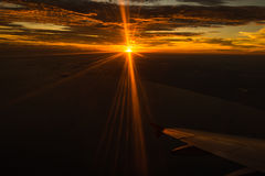 Плоский заход солнца Стоковые Изображения