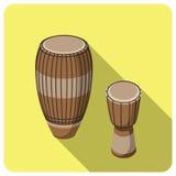 Плоский значок, барабанчик музыкального инструмента Стоковые Изображения RF