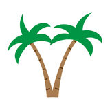 Плоский значок кокосовой пальмы цвета Стоковые Фото
