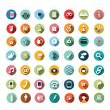Плоский значок конструирует, установленные значки, app, еда, шарж Стоковая Фотография