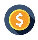 Плоский значок доллара с длинной тенью Стоковая Фотография RF