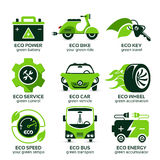 Плоский значок установил для движения зеленого eco городского Стоковое Изображение RF