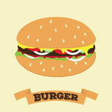Плоский значок фаст-фуда вектора гамбургера шаржа иллюстрация штока