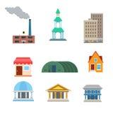 Плоский значок app вебсайта зданий вектора: магазин завода муниципальный Стоковое Изображение