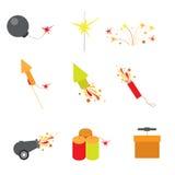 Плоский значок app сети фейерверков: взрывать petard ракеты Стоковое фото RF