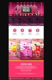 Плоский дизайн вебсайта концепции меню коктеиля стиля Стоковые Изображения RF