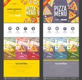 Плоский дизайн вебсайта концепции меню пиццы стиля Стоковое Изображение
