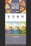 Плоский дизайн вебсайта концепции меню пиццы стиля Стоковые Фото