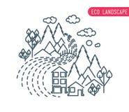 Плоский дизайн вкладыша eco, сельский ландшафт, дело Стоковые Изображения