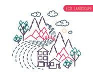 Плоский дизайн вкладыша eco, сельский ландшафт, дело Стоковое Изображение RF