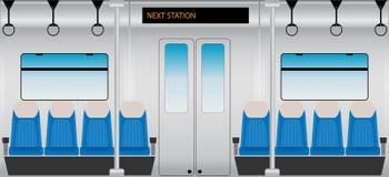 Плоский дизайн внутреннего пассажирского поезда метро Стоковые Изображения