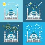 Плоский дизайн голубой мечети Стамбула Турции Стоковая Фотография