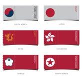 Плоский дизайн значка значка и флага для Восточной Азии Стоковое Изображение RF