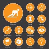 Плоский дизайн значков для startup дела Стоковое фото RF