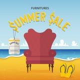 Плоский дизайн классического стула на предпосылке пляжа и моря в концепции продажи лета мебели Стоковое Изображение