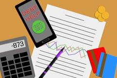 Плоский дизайн над взглядом настольного компьютера показывая финансовый отчет Стоковые Изображения RF