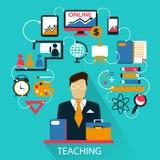 Плоский дизайн Независимая карьера преподавательство Стоковые Изображения RF