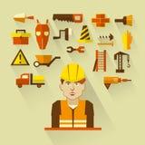 Плоский дизайн Независимое infographic Рабочий-строитель с инструментами и материалами для ремонта и конструкции Стоковая Фотография RF