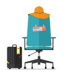 Плоский дизайн пустого стула офиса с билетом боя Босс или работник имеют каникулы Стоковые Изображения