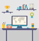 Плоский дизайн работника места для работы офиса творческого Стоковое Изображение RF