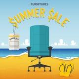 Плоский дизайн стула офиса на предпосылке пляжа и моря в концепции продажи лета мебели Стоковые Изображения RF