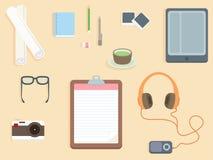 плоский дизайн - таблица офиса взгляд сверху бесплатная иллюстрация