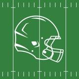 Плоский дизайн футбольного поля и шлема Стоковые Фото