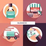 Плоский дизайн для онлайн концепции покупок Стоковые Фото