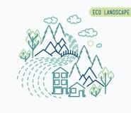 Плоский дизайн eco, сельский ландшафт вкладыша на каждый сезон в вашем деле Стоковые Фото
