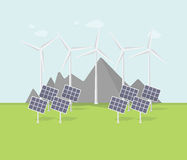 Плоский дизайн eco, сельский ландшафт с ветрянкой, панелями солнечных батарей, горами Стоковая Фотография RF