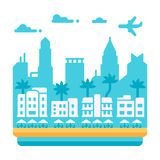 Плоский дизайн Miami Beach Стоковые Изображения RF