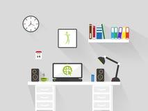 Плоский интерьер места для работы домашнего офиса длинная предпосылка вектора тени иллюстрация вектора
