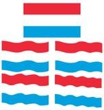 Плоский и развевая флаг Люксембурга Стоковая Фотография