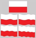 Плоский и развевая флаг Польши Стоковые Фотографии RF
