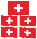 Плоский и развевая флаг Швейцарии Стоковая Фотография