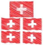 Плоский и развевая флаг эскиза притяжки руки Швейцарии Стоковые Изображения RF