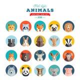 Плоский комплект вектора воплощения животных стиля 20 значков бесплатная иллюстрация