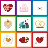 Плоский комплект влюбленности значка объектов Patisserie, подарка, вскарабканных и другихся вектора Также включает стрелку, кольц Стоковые Изображения RF