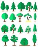 Плоский комплект дерева изолированный на белой предпосылке вектор Стоковые Фото