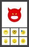 Плоский комплект жеста значка объектов оскала, улыбки, Pouting и другого вектора Также включает улыбку, сердитую, элементы оскала Стоковая Фотография