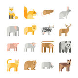 Плоский комплект значка животных вектора дизайна бесплатная иллюстрация