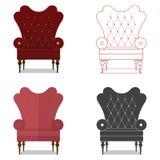 Плоский комплект значка дизайна классического стула в цвете marsala Стоковое Фото