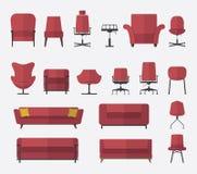Плоский комплект значка дизайна стула и софы в цвете marsala вектор иллюстрация Стоковое Изображение RF